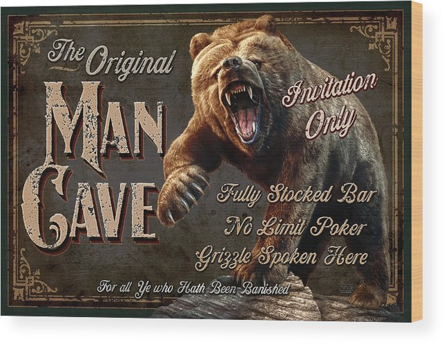 Jeff Wack Wood Print featuring the painting Man Cave Grizzly by JQ Licensing