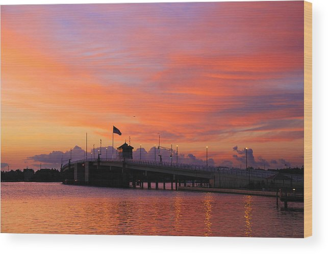Sunset  Wood Print featuring the photograph Mantoloking Bridge At Dawn by Roger Becker