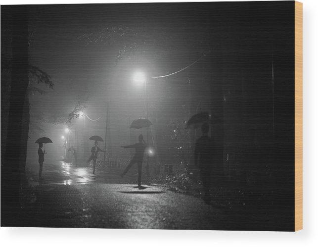 Umbrella Wood Print featuring the photograph Many Myself by Takashi Suzuki