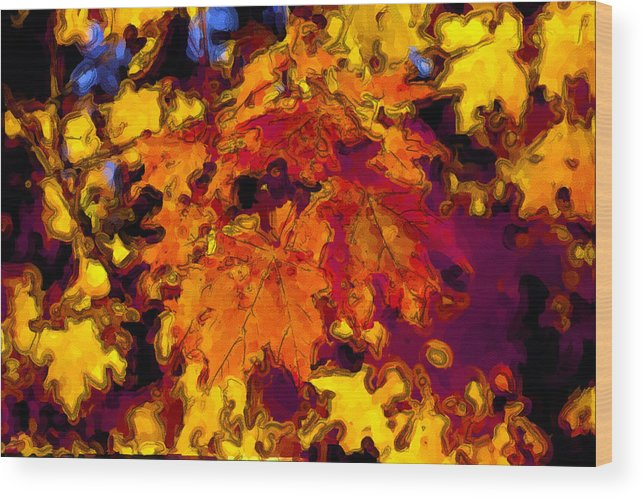 Maple Wood Print featuring the digital art Maple Leaves In Autumn by George Ferrell