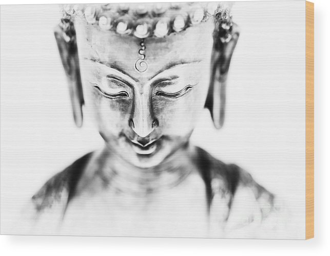 Medicine Wood Print featuring the photograph Medicine Buddha Monochrome by Tim Gainey