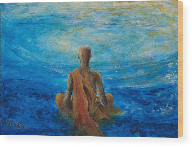 Monk Wood Print featuring the painting Meditation by Nik Helbig