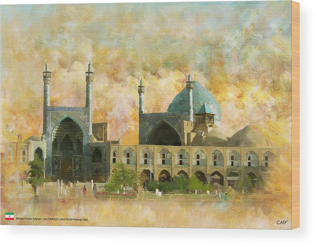 Iran Art Wood Print featuring the painting Meidan Emam Esfahan by Catf