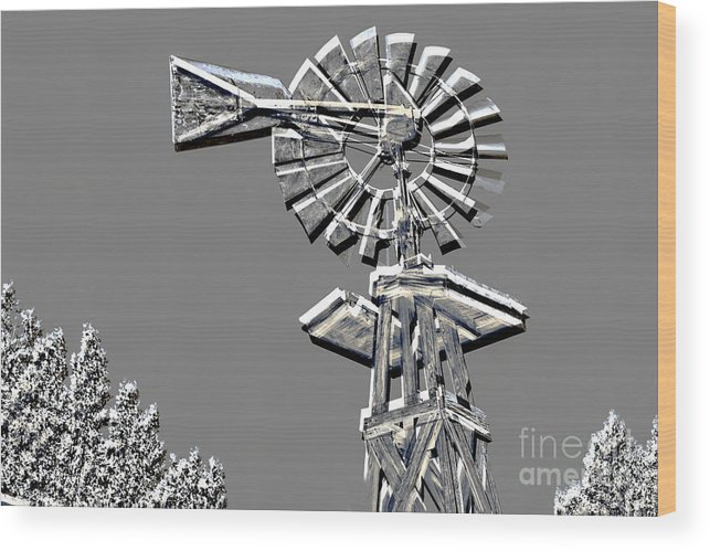 Windmill Wood Print featuring the mixed media Metal Print Of Old Windmill In Gray Color 3009.03 by M K Miller