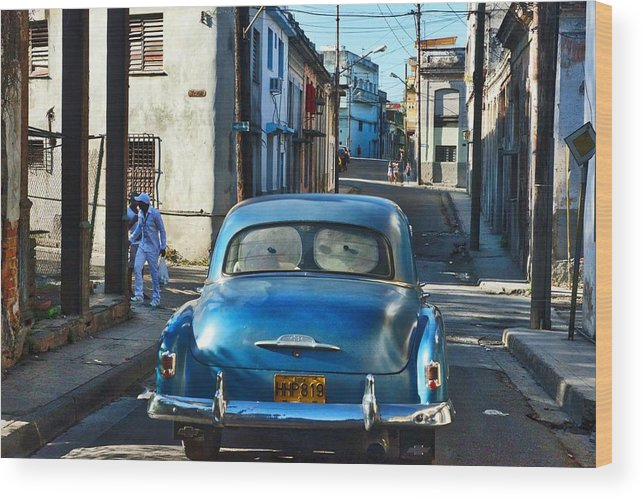 Havana Wood Print featuring the photograph Metallic Blue And Santeria by Larry Sides