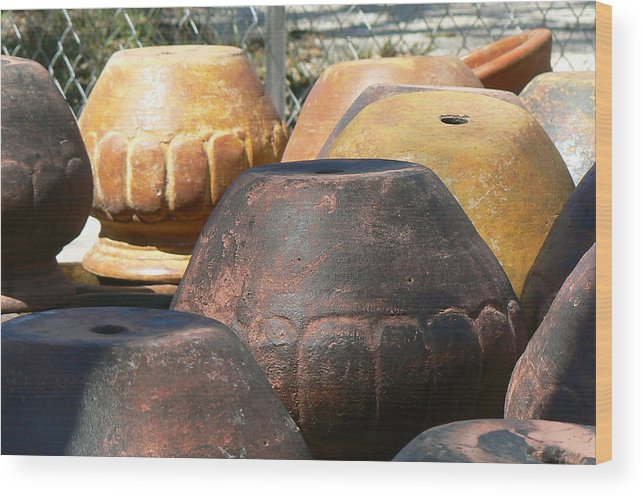 Pots Wood Print featuring the photograph Mexican Pots Vi by Scott Alcorn