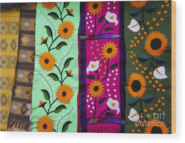Mexico Wood Print featuring the photograph Mexican Table Runners Cancun by John Mitchell