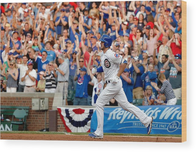 Second Inning Wood Print featuring the photograph Miami Marlins V Chicago Cubs by Jon Durr