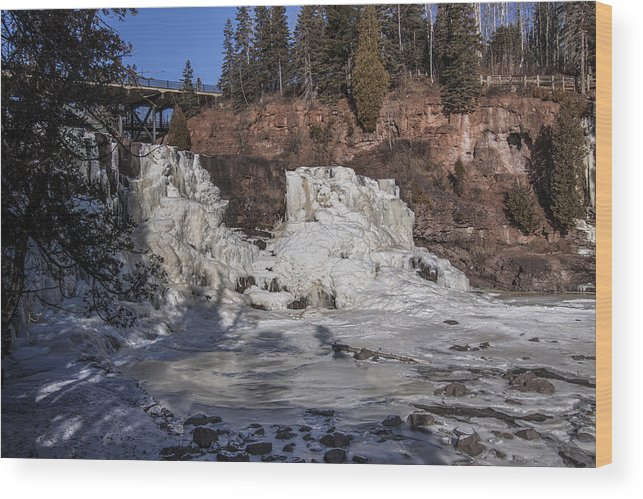 Winter Wood Print featuring the photograph Middle Falls In Winter by T C Hoffman