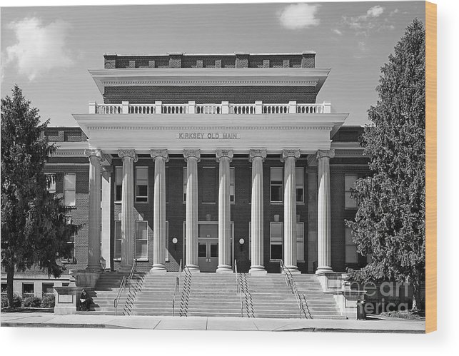 Blue Raiders Wood Print featuring the photograph Middle Tennessee State Kirksey Old Main by University Icons