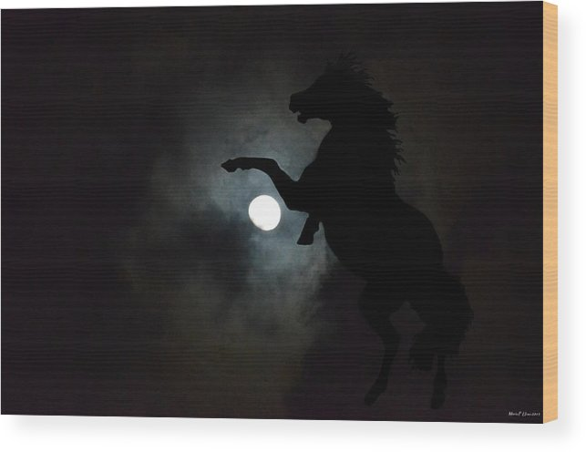 Midnight's Clarion Call Wood Print featuring the digital art Midnight's Clarion Call by Maria Urso
