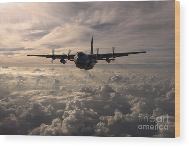 Lockheed Wood Print featuring the digital art Mighty Hercules by J Biggadike