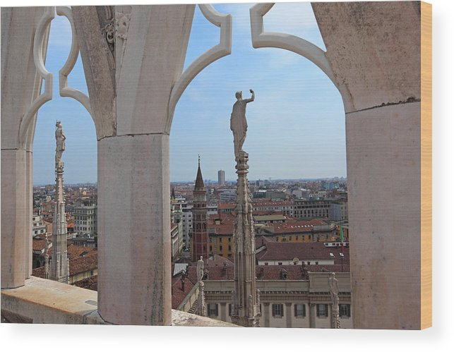 Italy Wood Print featuring the photograph Milan Cathedral Rooftop View by Susan Rovira