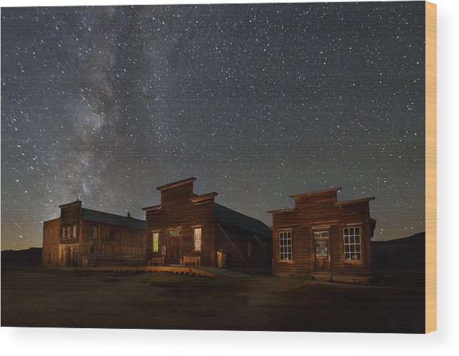 Bodie State Historic Park Wood Print featuring the photograph Milky Way Over Downtown Bodie by Jeff Sullivan