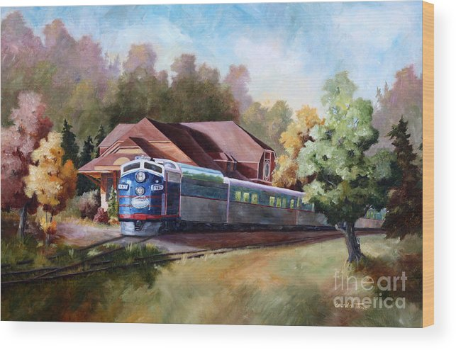 Train Fall train Painting Station Building Structure Minnesota train Station Oil Painting Original Wood Print featuring the painting Minnesota Zephyr by Brenda Thour