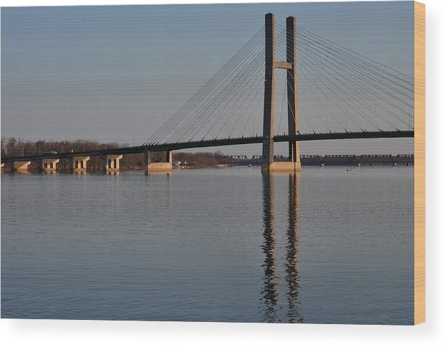 Bridge Wood Print featuring the photograph Mississippi River Bridge by Kim Hymes