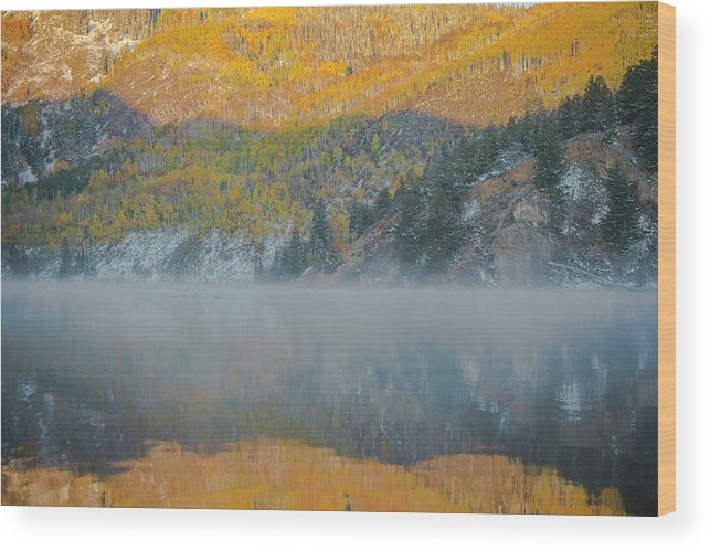 Tree Wood Print featuring the photograph Misty Lake With Aspen Trees by Matthewbe Photography