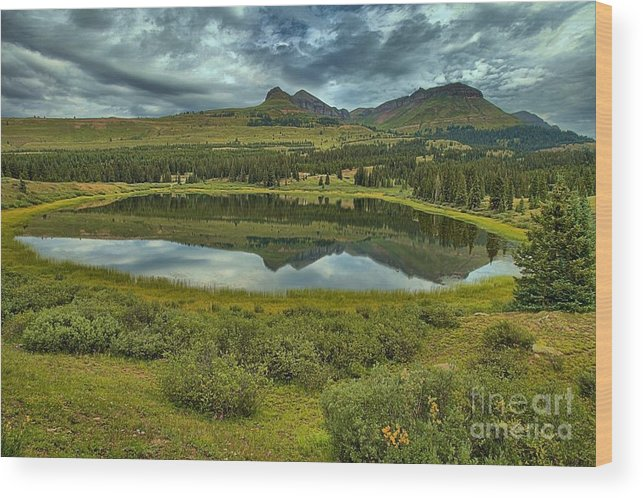 Little Molas Lake Wood Print featuring the photograph Molas Reflections by Adam Jewell