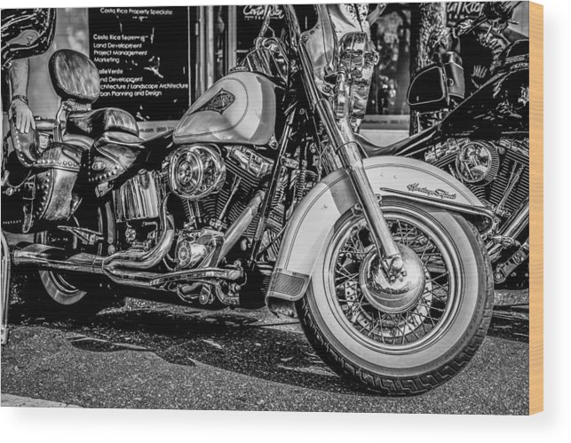 Motorcycle Wood Print featuring the photograph Mono Harley by Chris Smith
