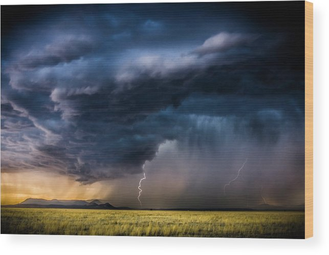 Beauty In Nature Wood Print featuring the photograph Monsoon Storm With A Multiple Lightning by Tim Martin