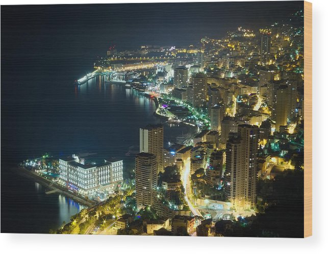 Architecture Wood Print featuring the photograph Monte Carlo By Night by Ioan Panaite