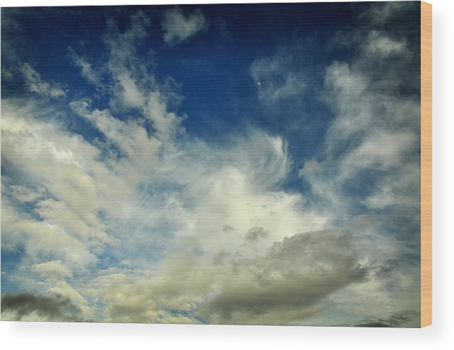 Clouds Wood Print featuring the photograph Moon In Clouds by John Drew