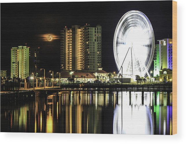 Full Moon Wood Print featuring the photograph Moon Rise Over Pensacola by Brad Miller
