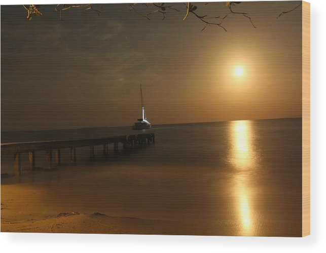Moon Wood Print featuring the photograph Moon Rise Over Popa Island by John Griswold
