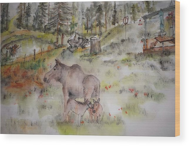 Landscape. Idaho. Animals. Moose Wood Print featuring the painting Moose Is Loose Album by Debbi Saccomanno Chan