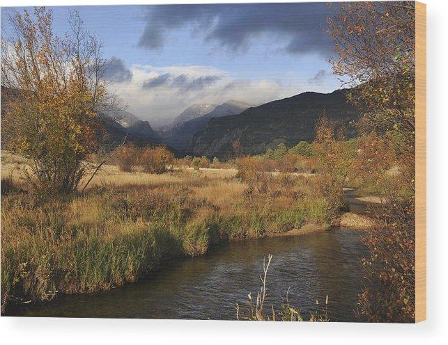 Clouds Wood Print featuring the photograph Moraine Park by Frank Burhenn