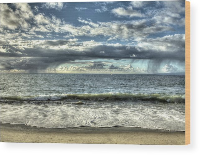 Beach Wood Print featuring the photograph Moss Landing In The Clouds by SC Heffner