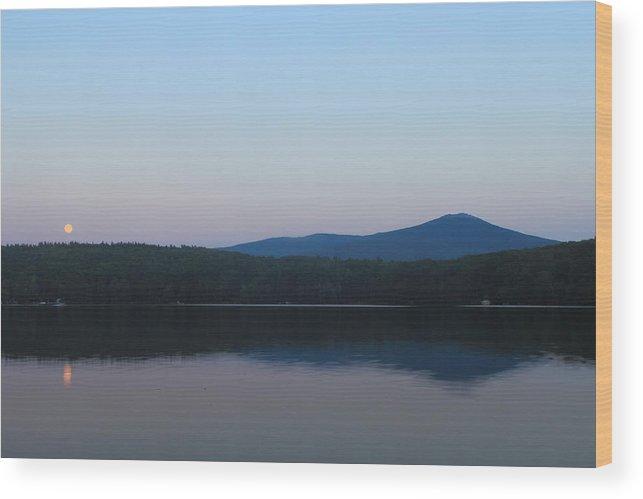 Moon Wood Print featuring the photograph Mount Monadnock Full Moon Rising by John Burk