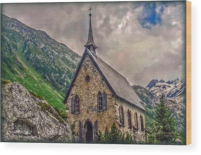 Switzerland Wood Print featuring the photograph Mountain Chapel by Hanny Heim