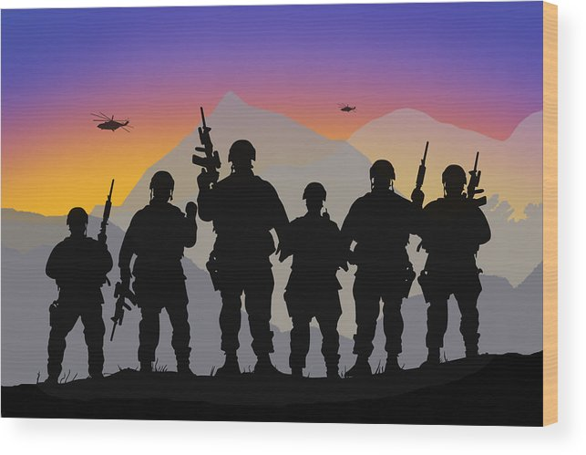 Mountains Wood Print featuring the digital art Mountain Troop by Peter Stevenson