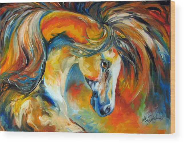 Equine Wood Print featuring the painting Mustang West by Marcia Baldwin