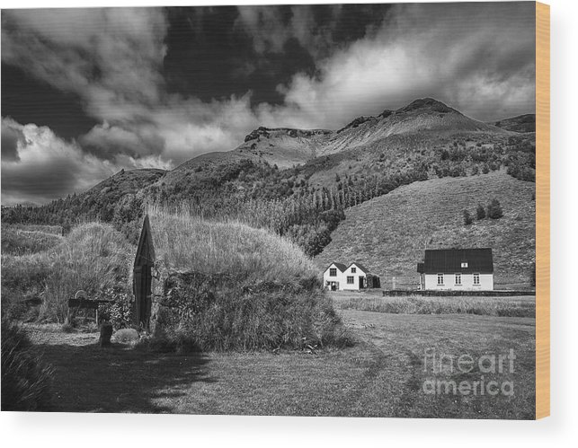 Black And White Landscapes Iceland Wood Print featuring the photograph Near The Hill by Rick Bragan