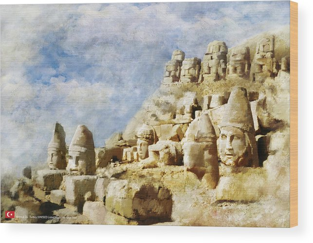 Wood Print featuring the painting Nemrut Dag by Catf