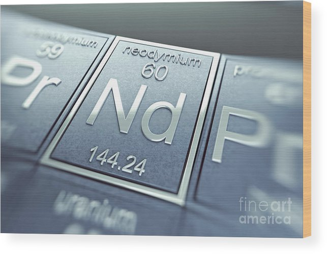 Atomic Number Wood Print featuring the photograph Neodymium Chemical Element by Science Picture Co