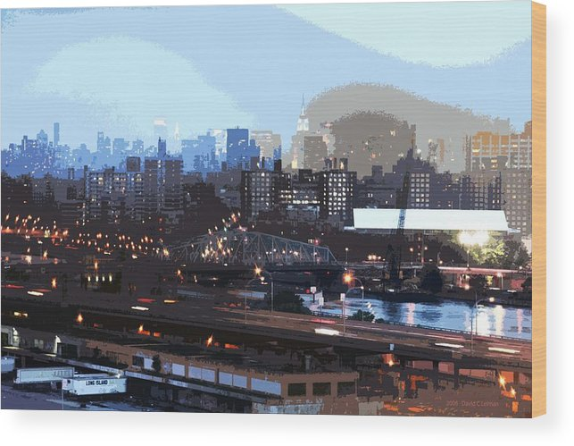 New York City Wood Print featuring the photograph New York City Evening Sky by David Leiman
