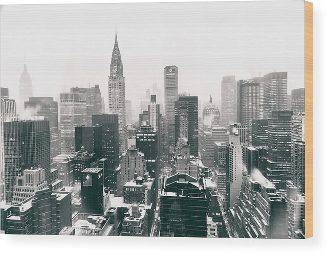 Nyc Wood Print featuring the photograph New York City - Snow-covered Skyline by Vivienne Gucwa