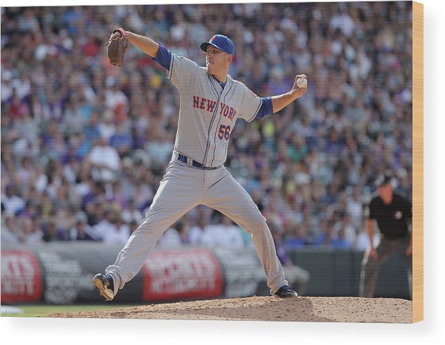 Relief Pitcher Wood Print featuring the photograph New York Mets V Colorado Rockies by Doug Pensinger