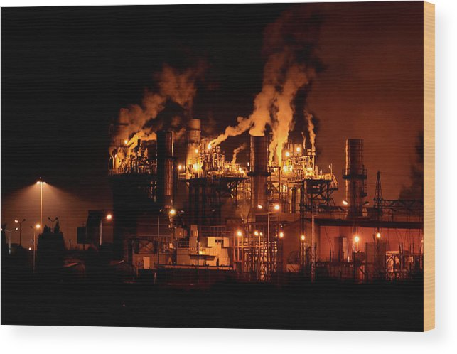 Industrial Wood Print featuring the photograph Night And Factory by Zafer GUDER
