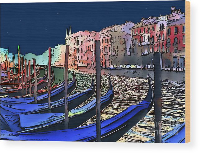 Impressionism Wood Print featuring the photograph Night Falls In Venice by Linda Parker