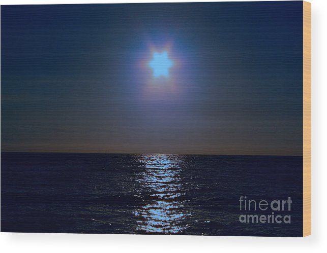 Sea Wood Print featuring the photograph Night On The Sea by Loretta Jean Photography