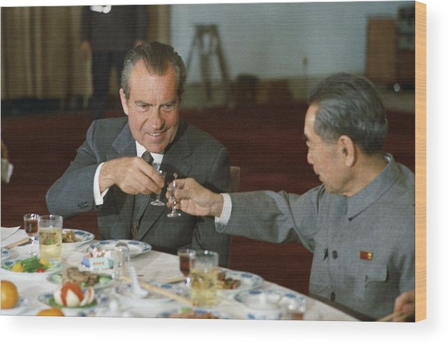 History Wood Print featuring the photograph Nixon In China. President Richard Nixon by Everett