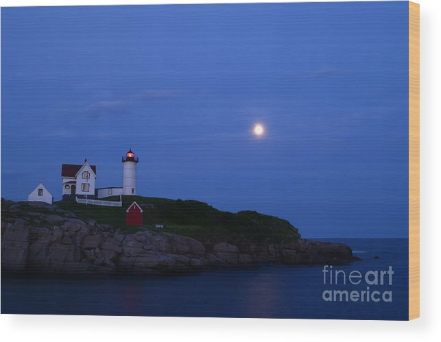 Nubble Lighthouse Wood Print featuring the photograph Nubble Lighthouse Evening by Aaron Edrington