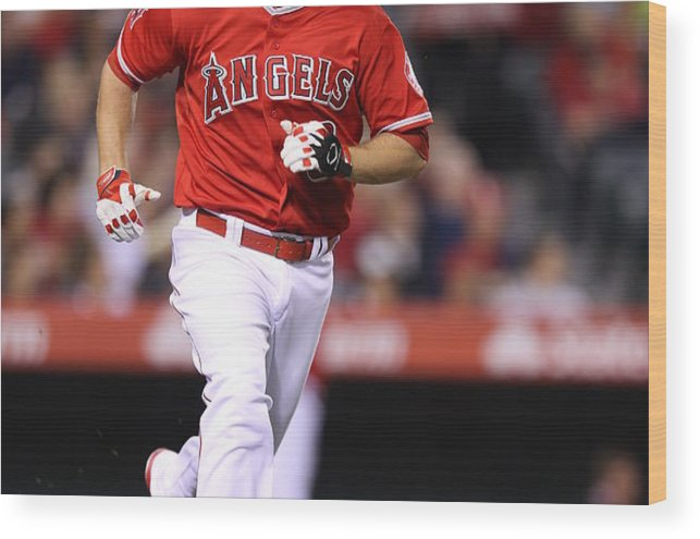 American League Baseball Wood Print featuring the photograph Oakland Athletics V. Los Angeles Angels by Paul Spinelli