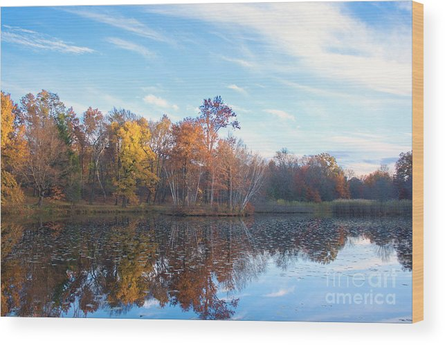 New England Wood Print featuring the photograph October Pond View by Marcel J Goetz Sr
