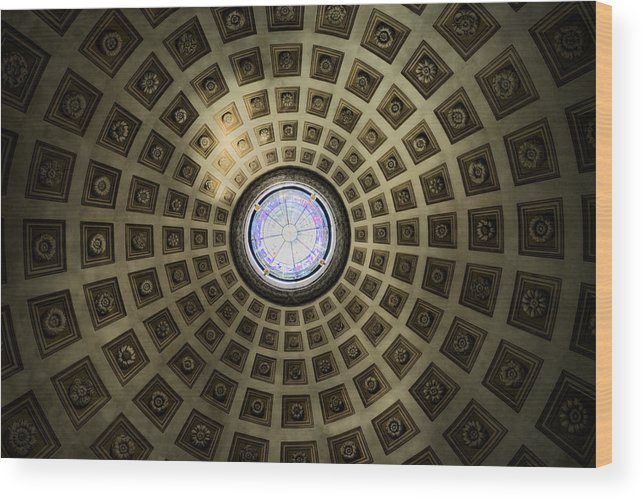 Ancient Wood Print featuring the photograph Oculus At The Baths Of Diocleian by Joan Carroll
