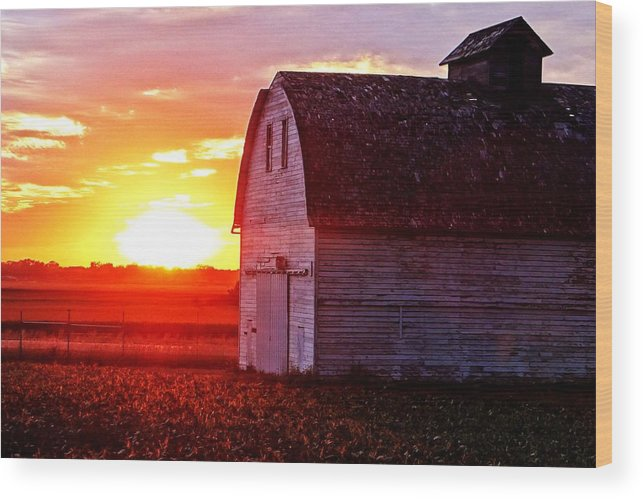 Beans Wood Print featuring the photograph Old Barn Sunset by Jeremey Gregg